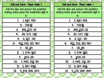5th Grade Math Center - Roll and Answer with Dice (TEKS)