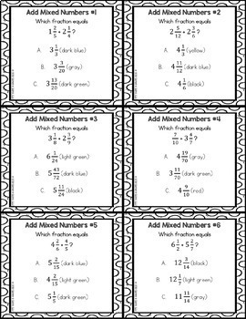 5th grade math centers 5th grade fraction activities color by number. Black Bedroom Furniture Sets. Home Design Ideas