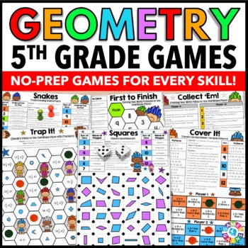 5th Grade Geometry Games {Coordinate Plane, Quadrilaterals, Number  Patterns   }