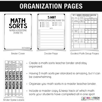 5th Grade Math Centers - Math Sorts - Math Games for Review