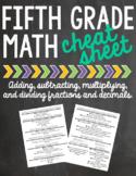 5th Grade Math Cheat Sheet