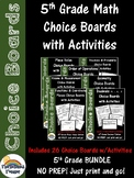 5th Grade Math Choice Boards BUNDLE (with included printab