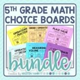 5th Grade Math Choice Boards Bundle - Editable and Digital!