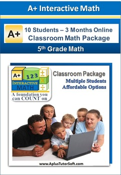 5th Grade Math Online Lessons, Interactive Review, Worksheets Pkg (10 Students)
