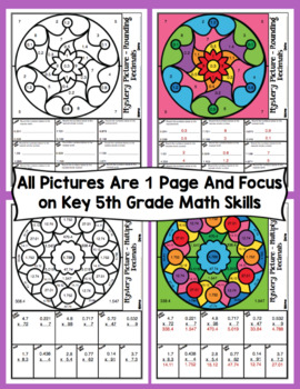 5th Grade Math Color By Number Designs: 5th Grade Math Mystery Pictures