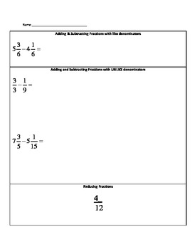 5th Grade Math Common Core Fractions Study Guide