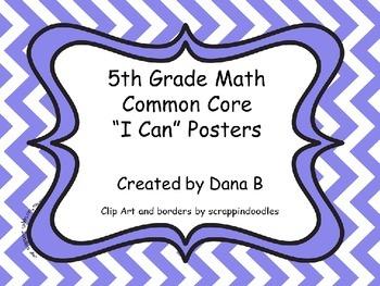 """5th Grade Math Common Core """"I Can"""" Posters - Chevron"""