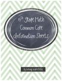 5th Grade Math Common Core Information Sheets