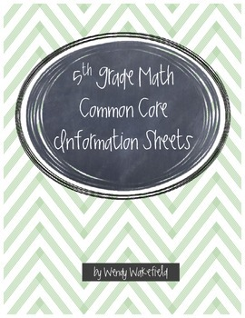 5th Grade Math Common Core Information Sheets