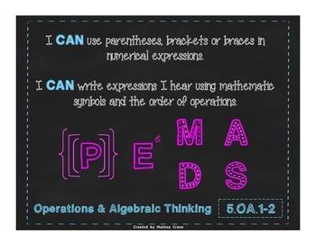 5th Grade Math Common Core Poster 5.OA.1-2