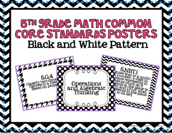 5th Grade Math Common Core Posters- Black and White Pattern