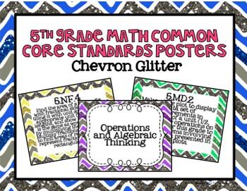 5th Grade Math Common Core Posters- Chevron Glitter Pattern