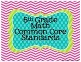 5th Grade Math Common Core Posters- Chevron Print