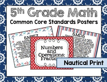 5th Grade Math Common Core Posters- Nautical Print