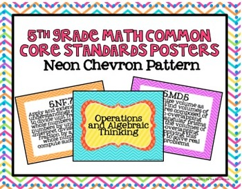5th Grade Math Common Core Posters- Neon Chevron