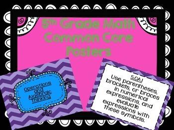 5th Grade Math Common Core Posters in Chevron