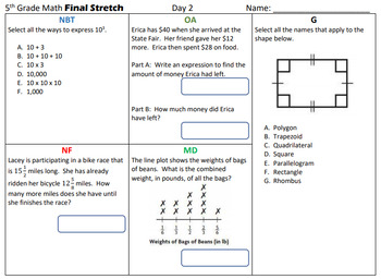 5th Grade Math Common Core Review: 10 days of Test Prep, No Prep Needed