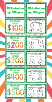 5th Grade Math Common Core Review Game (Geometry)