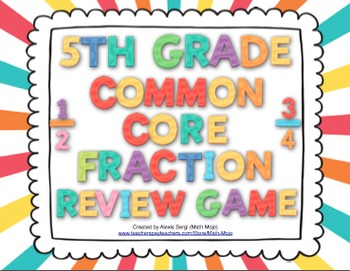 5th Grade Math Common Core Review Game (Number and Operations - Fractions)