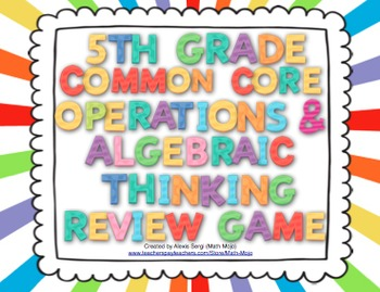 5th Grade Math Common Core Review Game (Operations and Alg