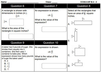 5th Grade Math Common Core Review, 48 days of review-by-standard