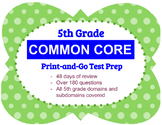 5th Grade Math Common Core Review, 48 days of test prep by