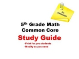 5th Grade Math Common Core - STUDY GUIDE