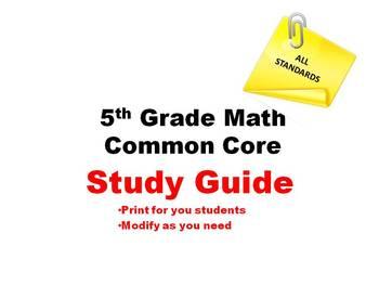 5th Grade Math Common Core - STUDY GUIDE