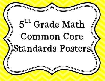 5th Grade Math Common Core Standard Posters: Chevron