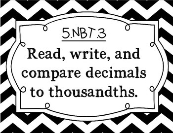 5th Grade Math Common Core Standard Posters: Black and White