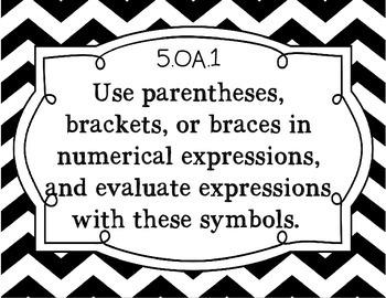 5th Grade Math Common Core Standard Posters: Black and White