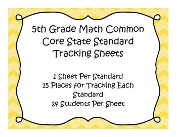 5th Grade Math Common Core Standard Track Sheets