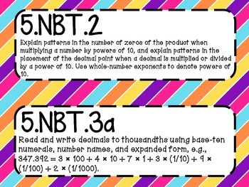 5th Grade Math Common Core *Standards Posters* Diagonal Stripes