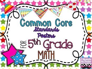 5th Grade Math Common Core *Standards Posters* Neon Stars