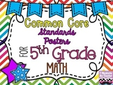 5th Grade Math Common Core *Standards Posters* Rainbow Chevron