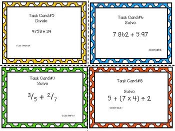 5th Grade Math Common Core Task Cards