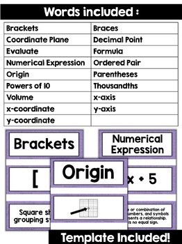 5th Grade Math Vocabulary Cards