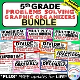 5th Grade Math WORD PROBLEMS Graphic Organizer Common Core BUNDLE Back to School