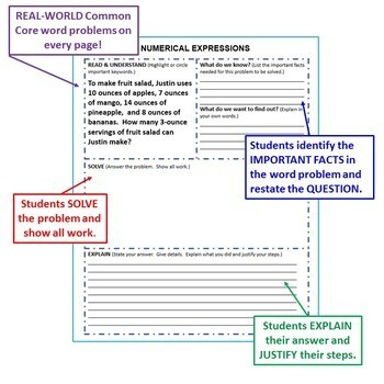 5th Grade Math WORD PROBLEMS Graphic Organizer Common Core BUNDLE Back to School
