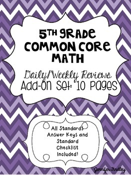 5th Grade Math Common Core Weekly Daily Review Warm Ups *Add On Set 1: 10 Weeks*