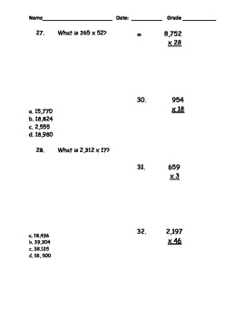 5th Grade Math Common Core assessment