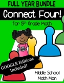 5th Grade Math Games Connect Four Bundle - Printed and Digital