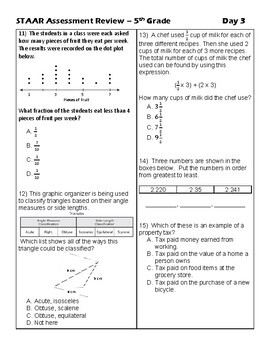 5th Grade Math: Countdown to STAAR - 20 days of review of TEKS standards