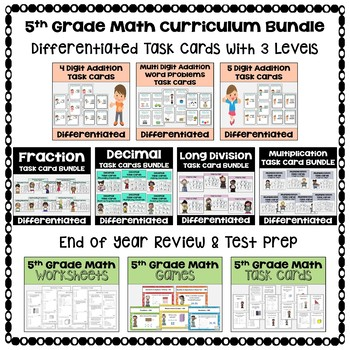 5th Grade Math Curriculum BUNDLE - Worksheets, Task Cards & Games