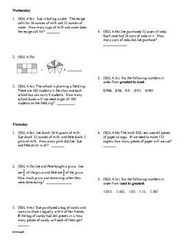 5th Grade Math Daily Review Week 2