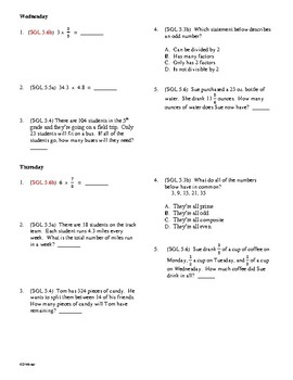 5th Grade Math Daily Review #21