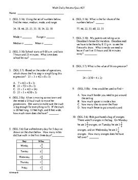 5th Grade Math Daily Review Week 27