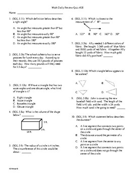 5th Grade Math Daily Review Week 28