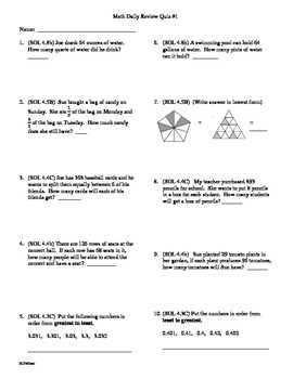 5th Grade Math Daily Review Bundle Weeks 1-5