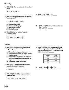 5th Grade Math Daily Review Bundle Weeks 21-25